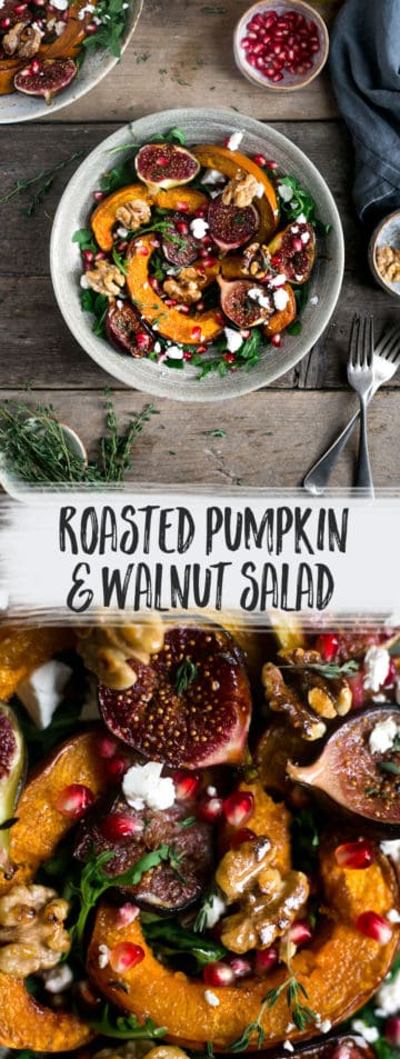 Roasted pumpkin salad with crunchy walnuts and caramelised figs #vegan #pumpkin #salad | via @annabanana.co