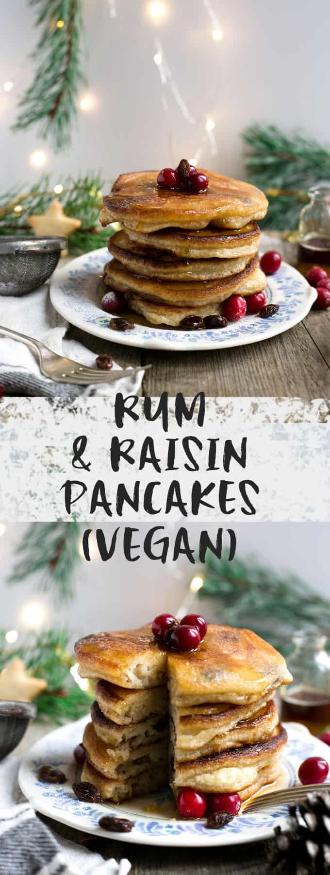 Rum & raisin pancakes, soft, fluffy and festive treat for Christmas morning! #vegan #pancakes #christmas | via @annabanana.co