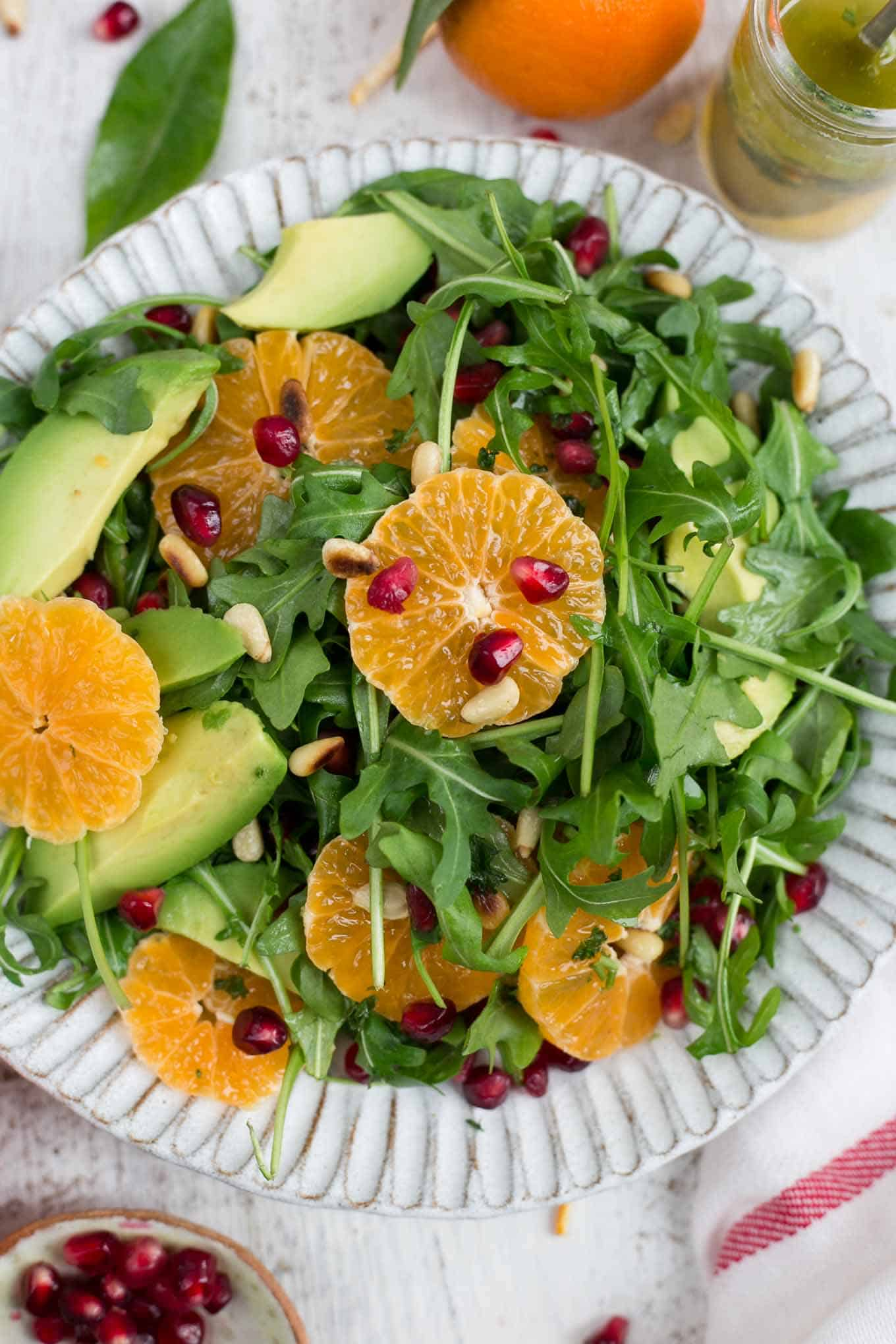 Super- clean, avocado and clementine salad with juicy pomegranate #vegan #dairyfree #avocado | via @annabanana.co