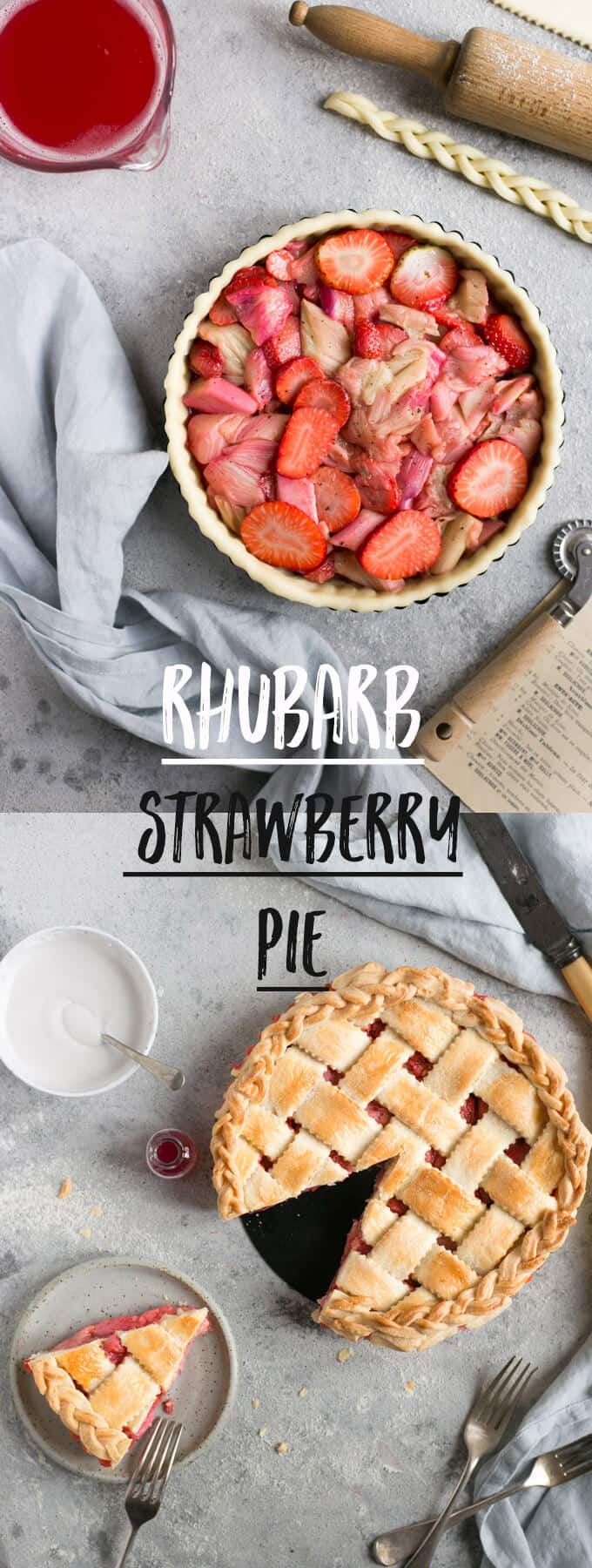 Classic rhubarb strawberry pie recipe! Delicious buttery pastry filled with tangy-sweet rhubarb and strawberries! #rhubarb #pie #vegan #strawberry | via @annabanana.co