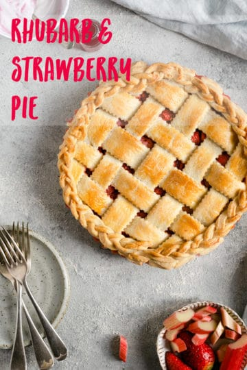 Rhubarb and strawberry pie recipe. Great way to use fresh, seasonal rhubarb! Perfect pie for any occasion! #rhubarb #rhubarbpie #veganrecipes #pie | via @annabanana.co