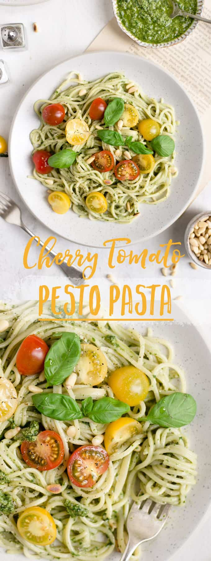 Pesto pasta with cherry tomatoes. Quick and easy idea for lunch or dinner, ready in 15 minutes! #veganrecipe #healthyrecipe #pasta | via @annabanana.co