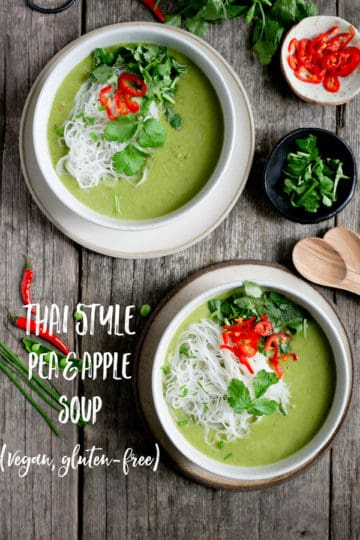 This Thai style pea and apple soup is full of beautiful, aromatic flavours, made with 7 ingredients, and ready in just under 30 minutes! #veganrecipe #healthysoup #easyrecipe | via @annabanana.co