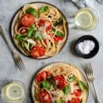 Simple and full of flavour bucatini pasta with oven roasted tomatoes #vegetarian #simplerecipe #budgetfriendly