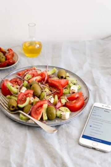 Easy Greek salad with simple ingredients. Buy your groceries with Tesco app and try the new filtering tools to suit your dietary needs!