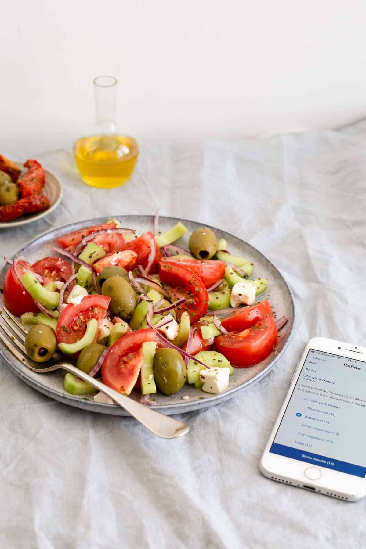 Easy Greek salad with simple ingredients. Buy your groceries with Tesco's app and try their new filtering tools to suit all of your dietary needs!