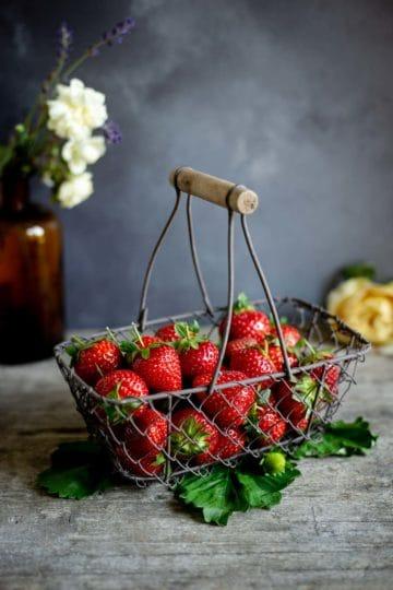 Basket of freshly picked strawberries
