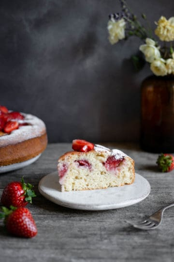 Slice of light and airy strawberry cake