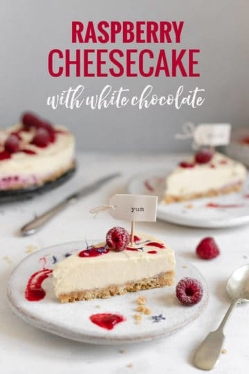 Delicious and incredibly creamy raspberry cheesecake with white chocolate. No-bake, easy to follow recipe with only 7 ingredients! #cheesecake #nobakedessert #raspberries | via @annabanana.co