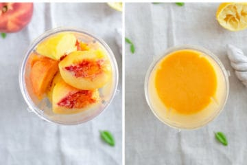 Peach slices in a blender before and after being processed