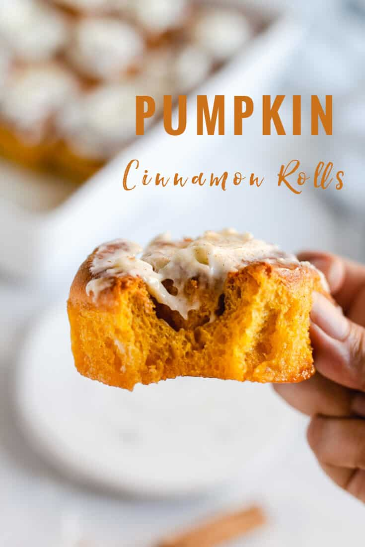 Utterly delicious pumpkin cinnamon rolls with maple cream cheese icing! Super soft, squidgy and buttery sweet buns gently spiced with cinnamon. This is an ideal, autumnal treat for the whole family #cinnamonrolls #pumpkin #vegetarian | via @annabanana.co