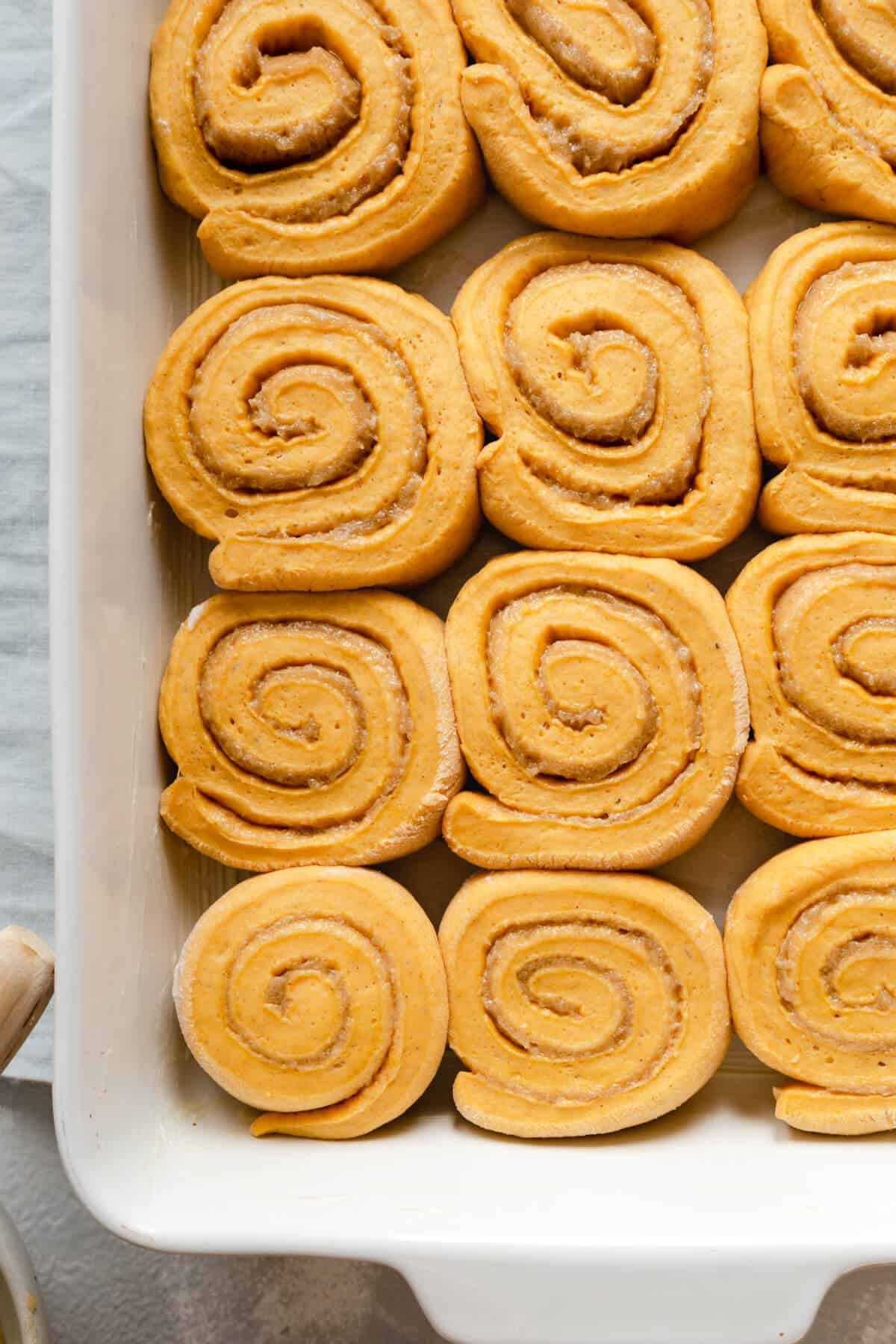Close-up of pumpkin cinnamon rolls in a baking tray