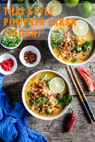 Thai style pumpkin laksa with crunchy chickpeas. This aromatic and full of flavour noodle soup is guaranteed to warm you up even on the coldest days! #veganrecipe #pumpkin #autumnrecipes #soup