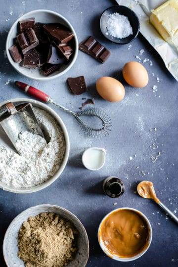 Overhead shot of the ingredients for chocolate salted caramel cookies