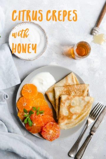 Citrus crepes with honey and yogurt