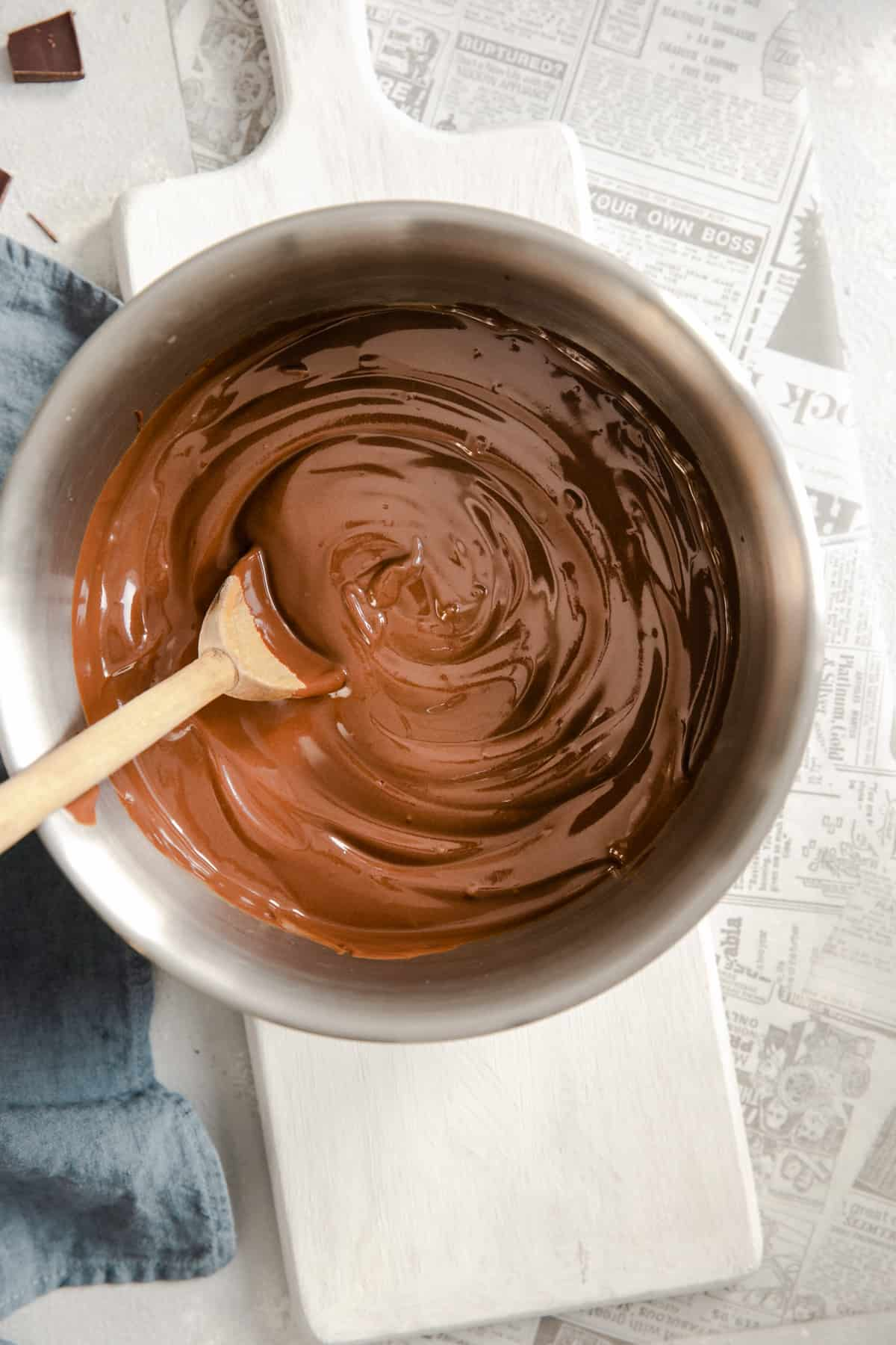 overhead shot of a mixing bowl with vegan chocolate pudding inside
