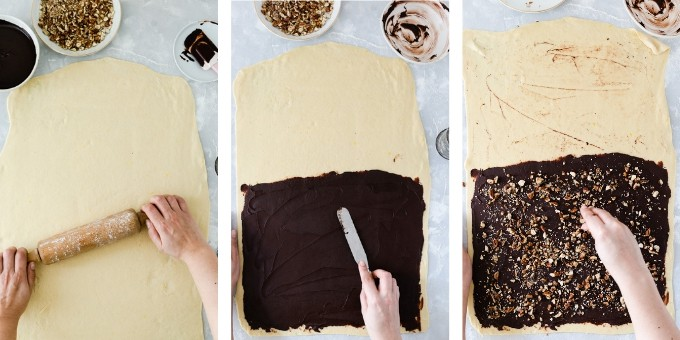 step 2- overhead shots of rolling the dough and spreading the chocolate filling and chopped hazelnuts on top