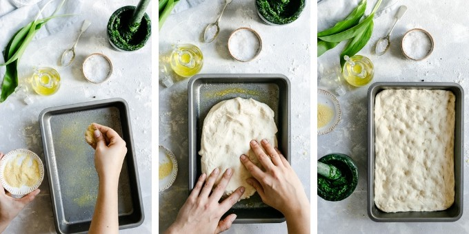 step 2: overhead shots of a person preparing focaccia dough in a baking tin