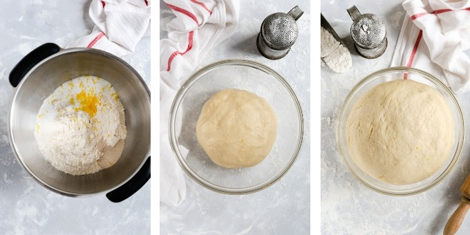 step one- overhead shots of preparing the dough for chocolate hazelnut babka buns,