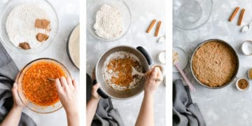 overhead shots of the vegan carrot cake being prepared, mixing the wet ingredients, mixing the dry and wet ingredients together, cake tin with cake batter inside of it