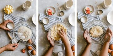 top view of person preparing galette dough in three steps