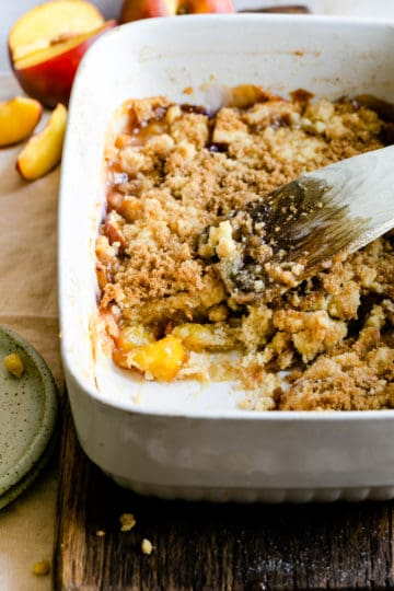 close up of freshly baked peach cobbler