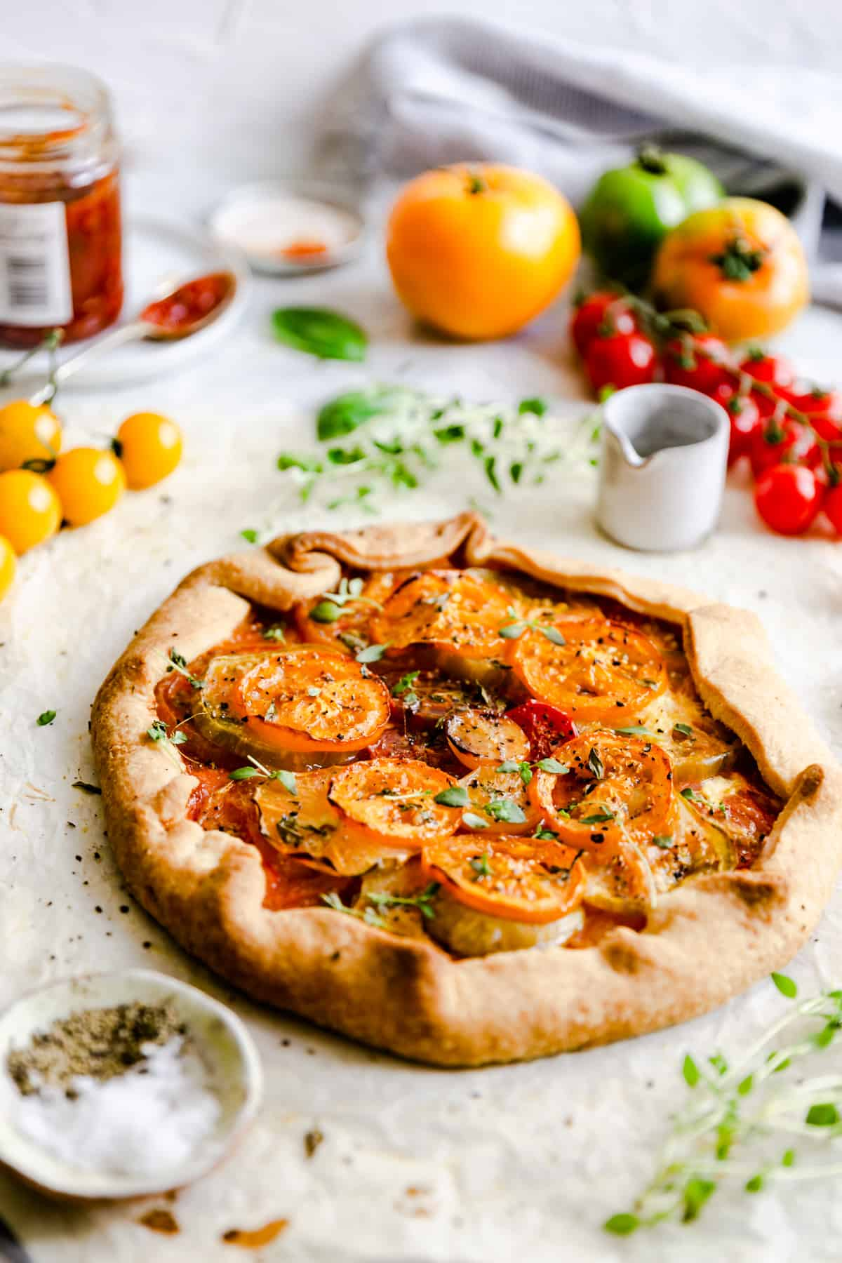 side view of summer tomato galette