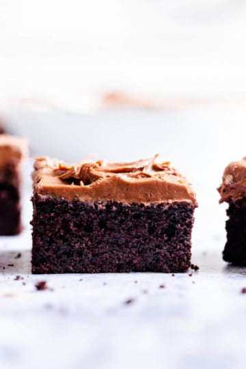 side close up of a slice of chocolate cake with buttercream