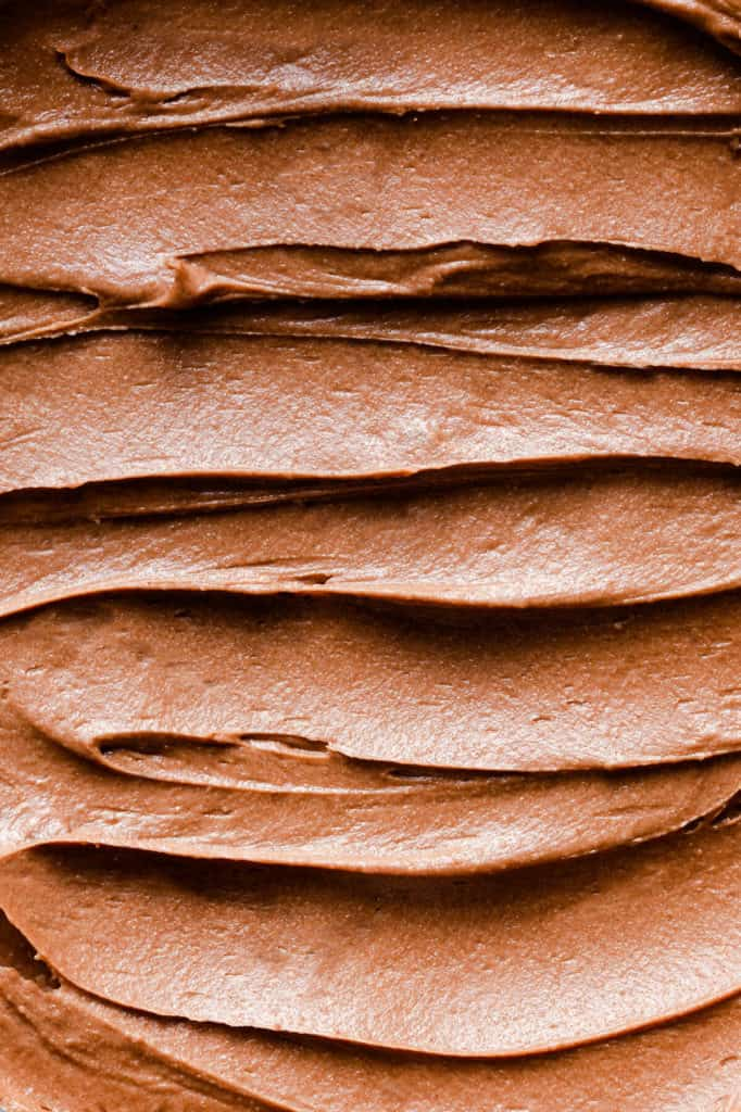 super close up of chocolate buttercream