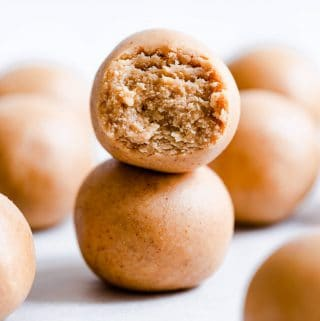 side close up of two energy balls stacked on top of eachother