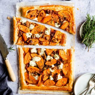 top view of butternut squash tart sliced
