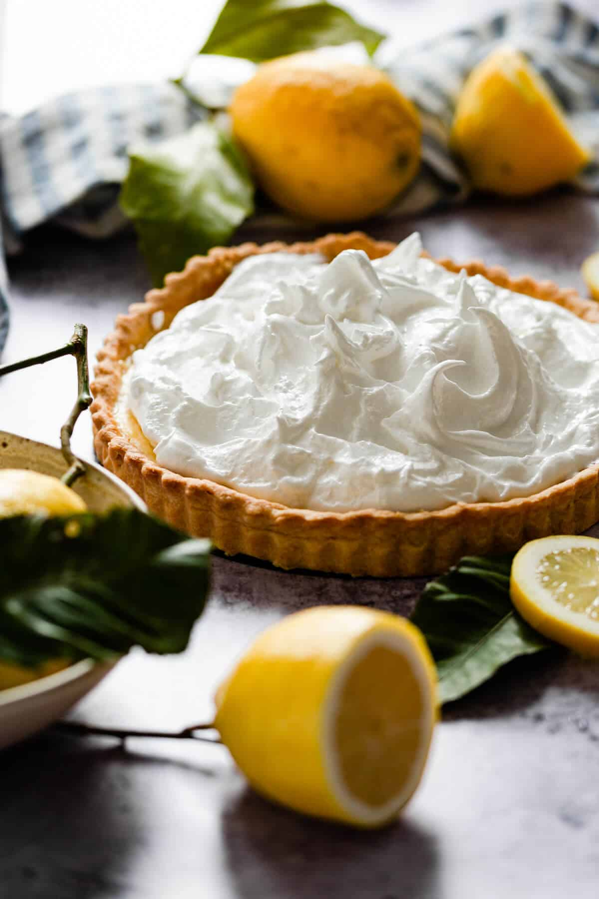 side angle of lemon pie topped with meringue