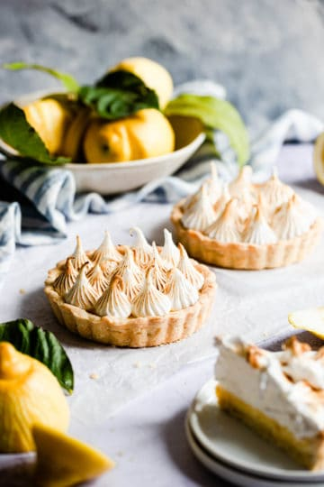 side close up of a small lemon meringue pie