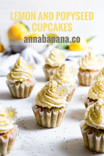 side close up of lemon cupcakes topped with buttercream