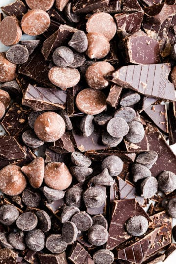 close up top view of chopped chocolate and chocolate chips