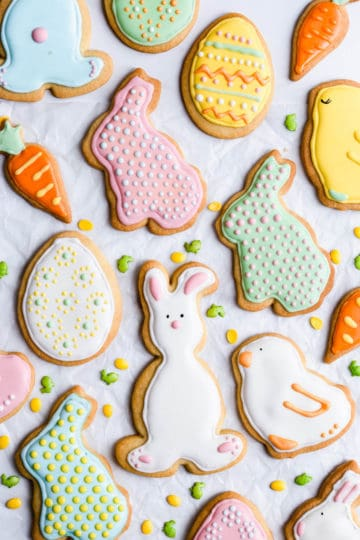 overhead close up of cookies in shapes of bunnies and eggs