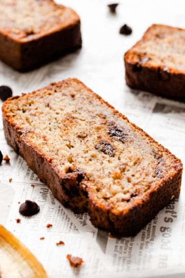 super close up of a slice of banana bread with chocolate chips