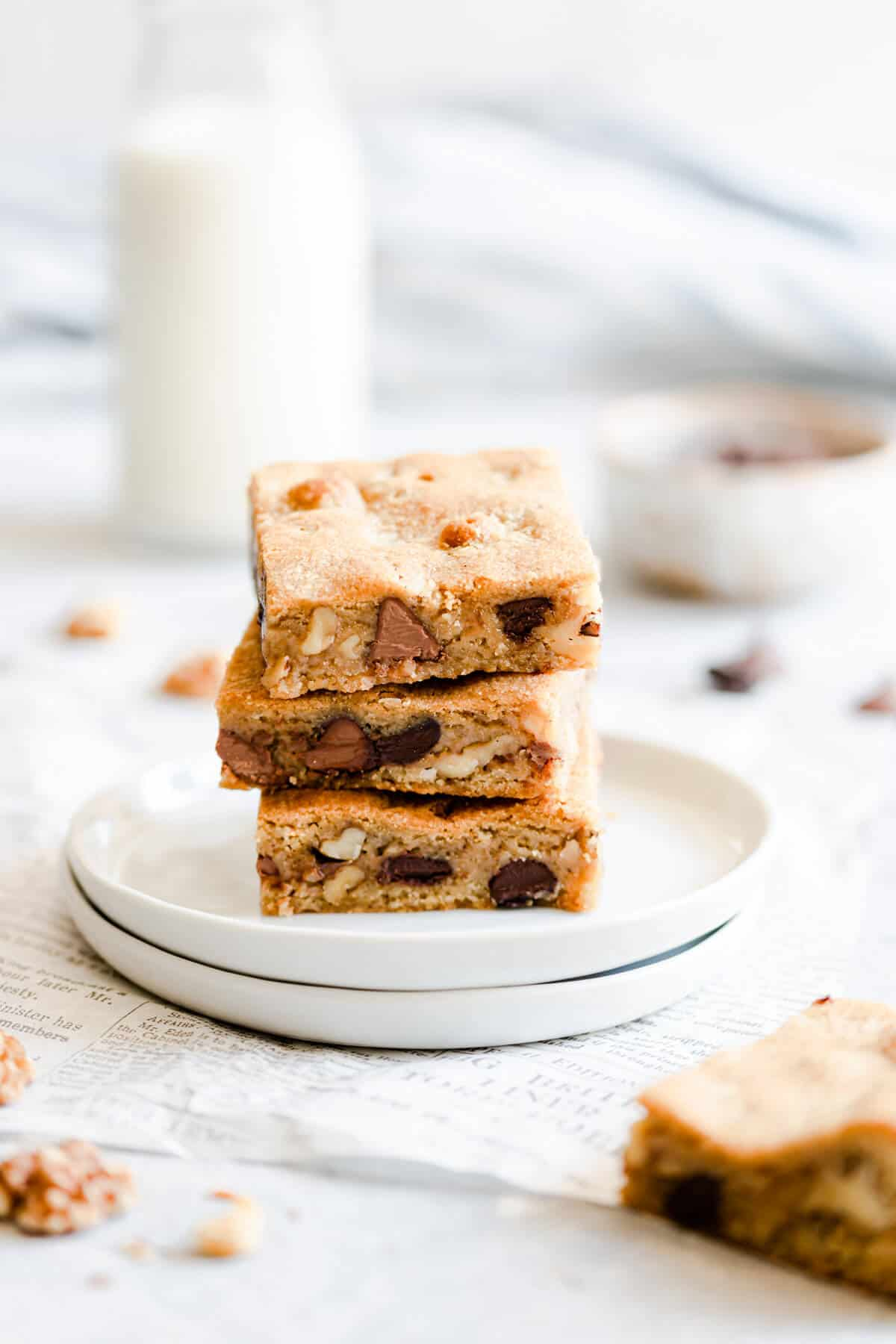 side angle close up of 3 blondie bars stacked on top of each other