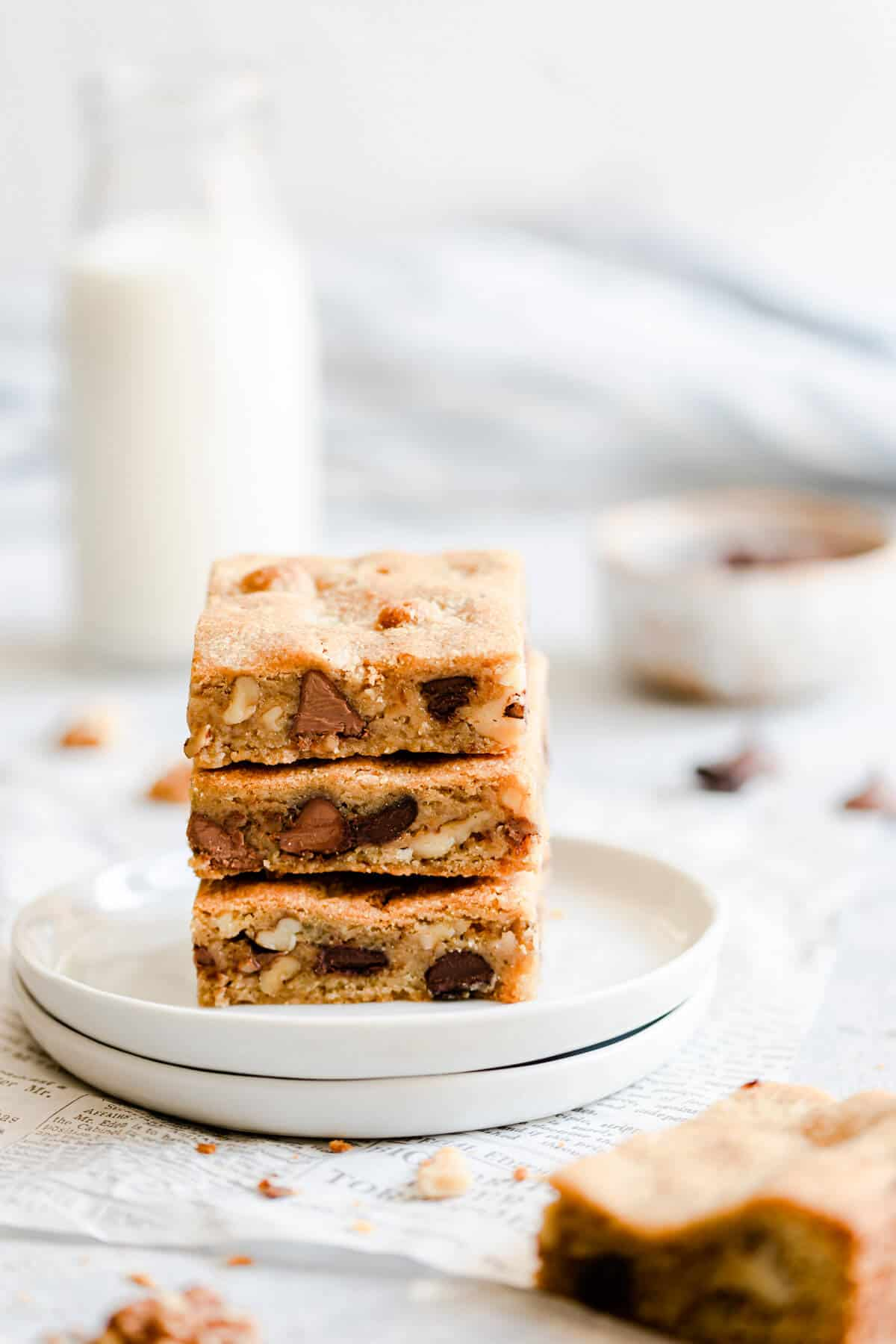 side shot of 3 blondie bars stacked on top of each other