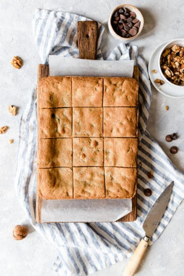 top view of chocolate chip and walnut blondies cut into squares