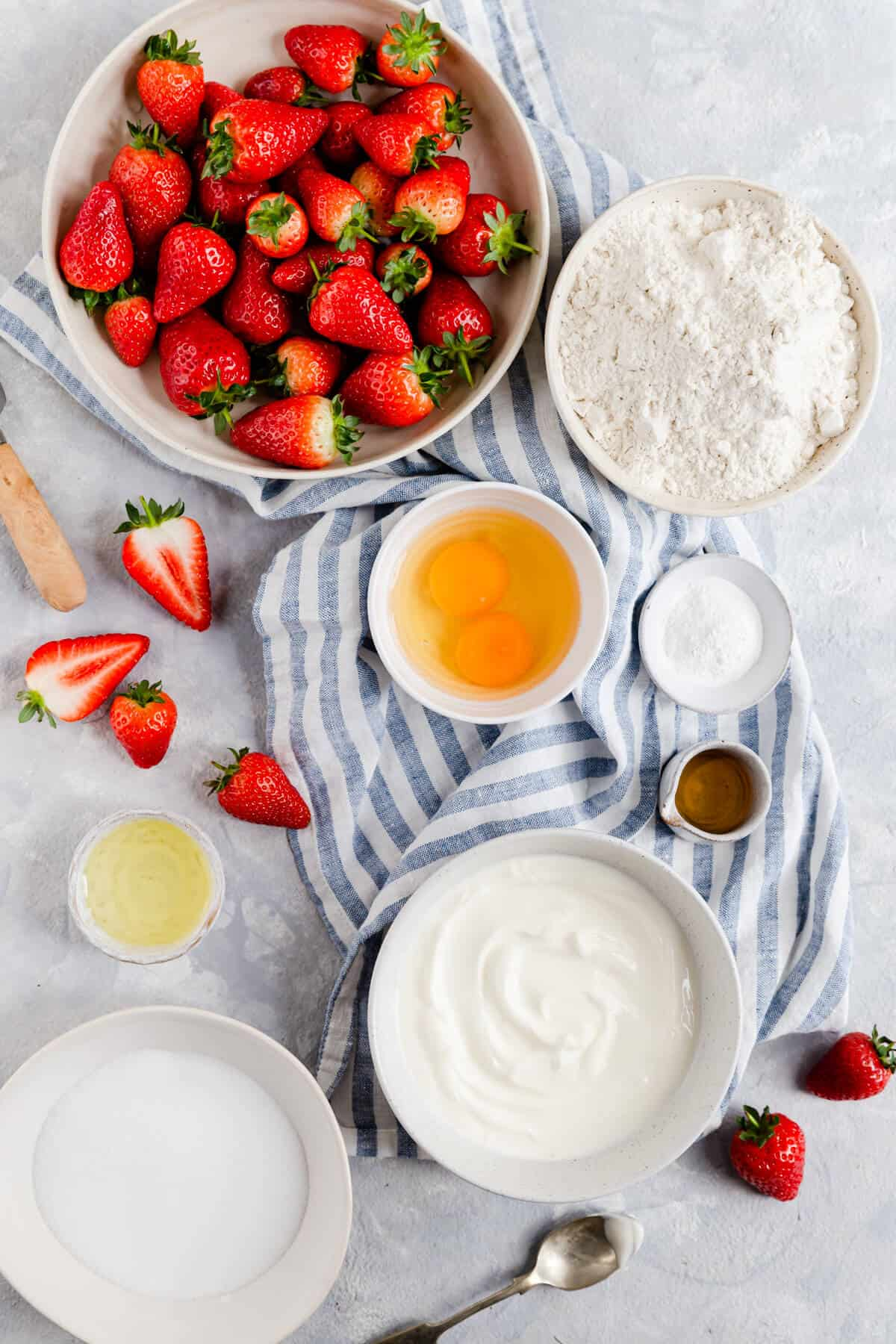 top view of the ingredients for strawberry cake