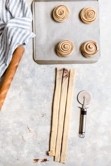 top view of dough cut into thin strips