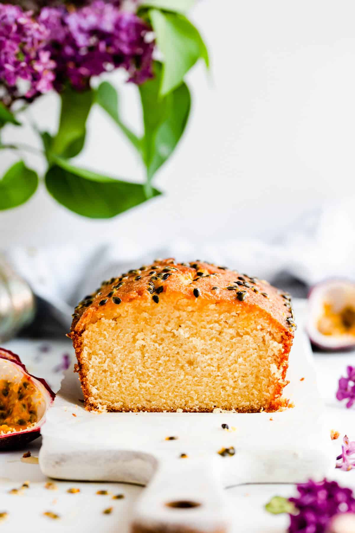 straight ahead photo of passion fruit loaf showing texture