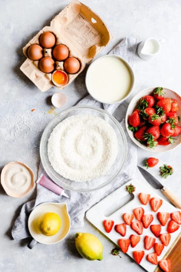 top view of the ingredients to make strawberry coconut ice squares