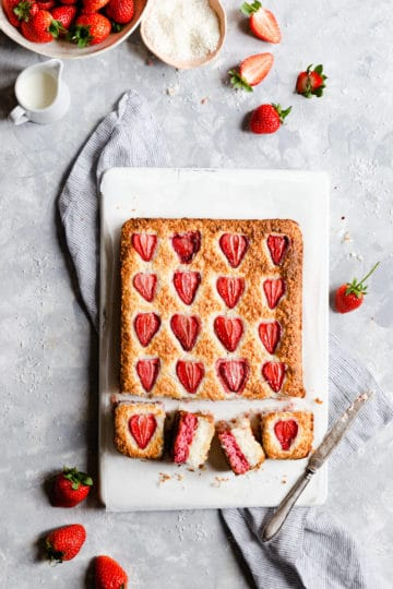 top view of strawberry coconut ice squares
