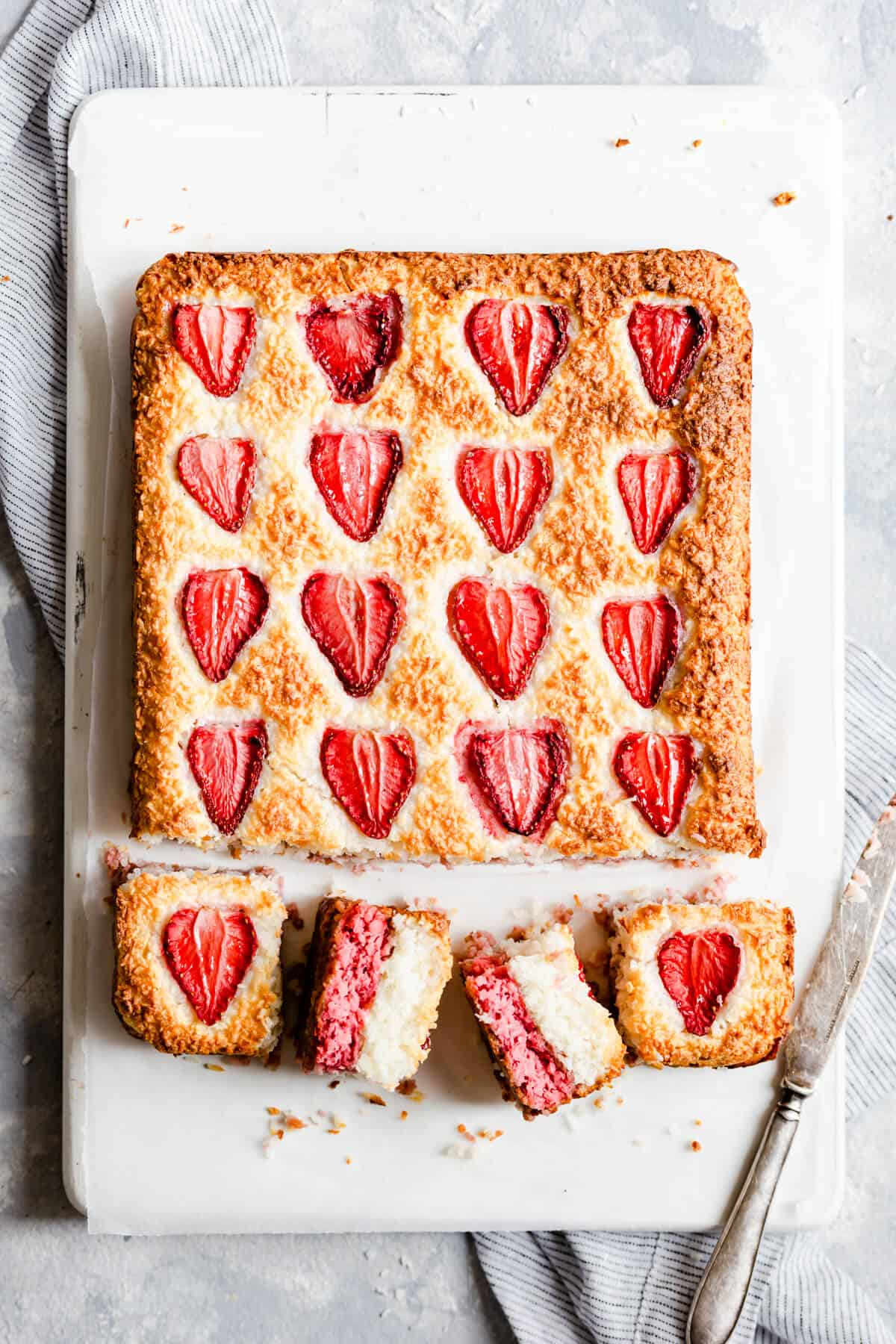 overhead close up of strawberry coconut squares