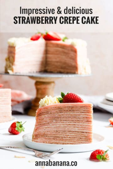 super close up straight ahead angle of a slice of crepe cake with cake in the background and text overlay