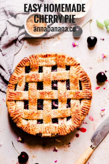 overhead shot of homemade pie with lattice pattern on top and text overlay