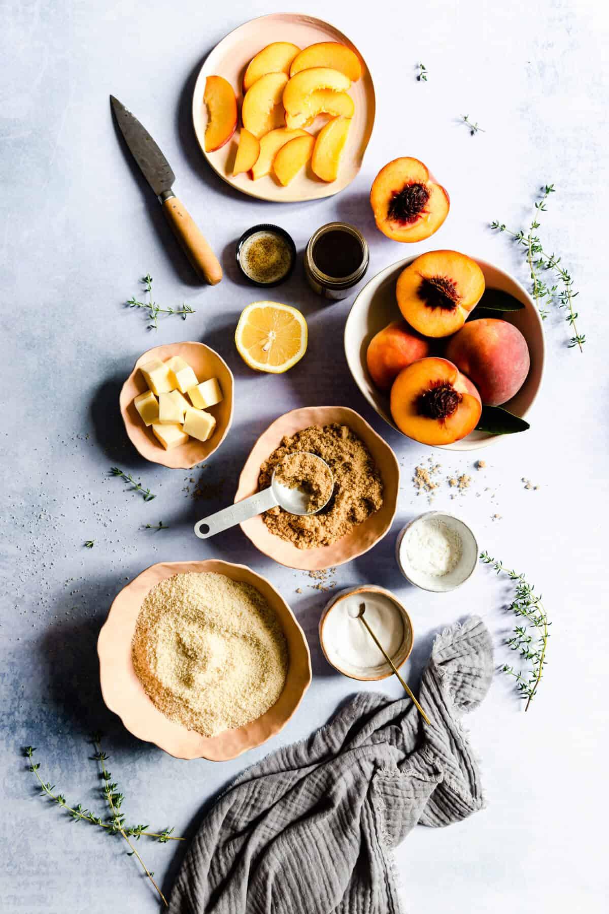 top view of peach galette ingredients