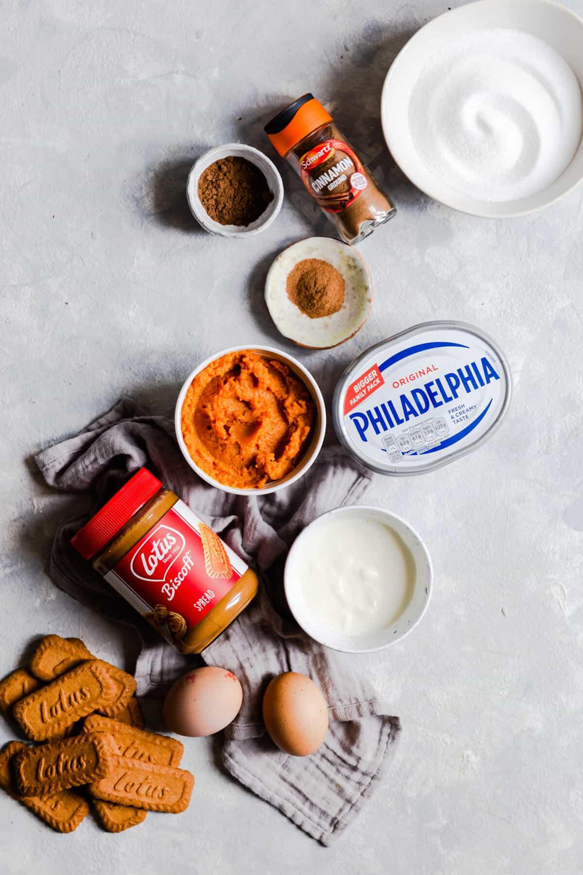 overhead shot of the ingredients for pumpkin biscoff cheesecake